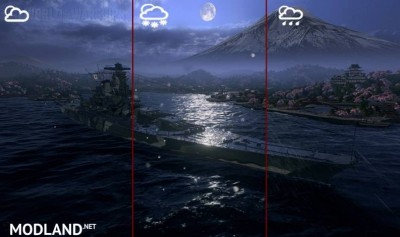 Night Nagasaki port + weather effects WoWs 0.7.8.0